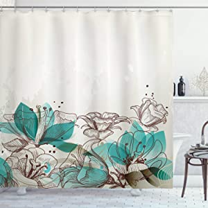 """Ambesonne Turquoise Shower Curtain, Retro Floral Background with Hibiscus Silhouettes Dramatic Romantic Nature Art, Cloth Fabric Bathroom Decor Set with Hooks, 84"""" Long Extra, Beige Teal"""