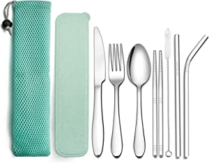 LIANYU 9-Piece Travel Utensils Silverware Set, Stainless Steel Knife Fork Spoon, Chopsticks, Metal Straws, Cleaning Brush, Green Case and Bag Piece Travel Utensils, Green Case