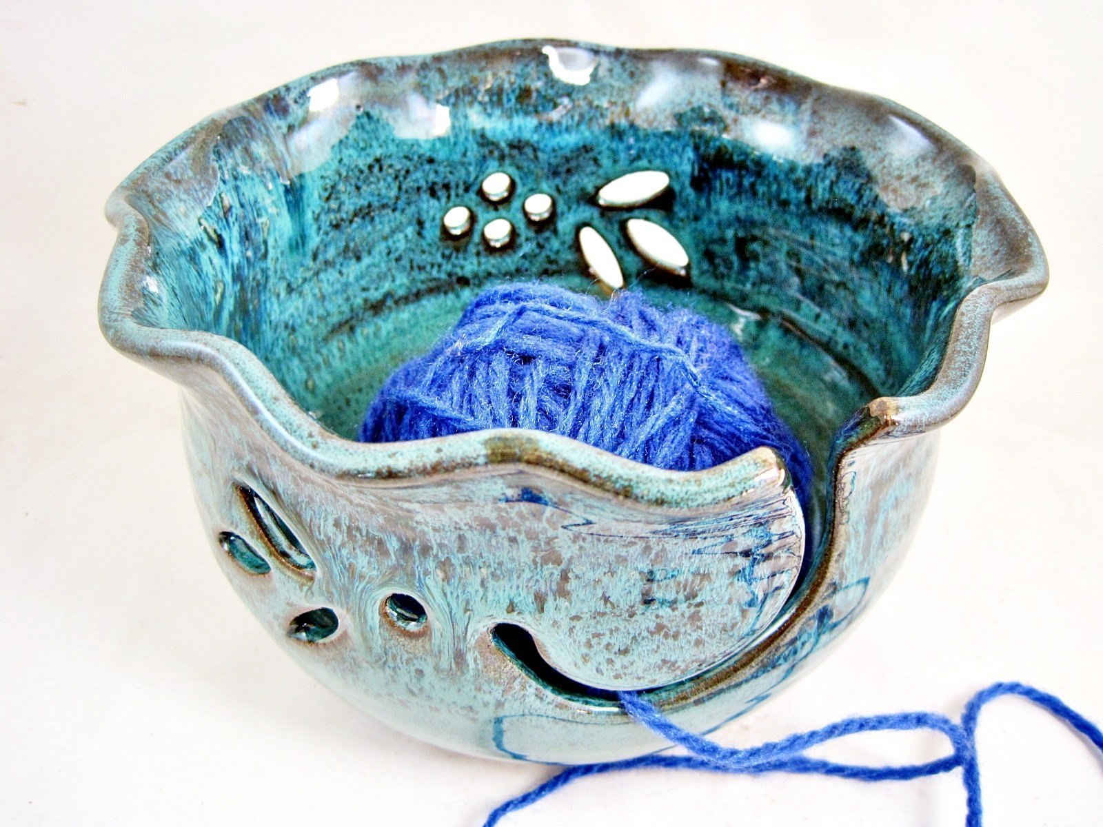 Teal blue Pottery Yarn Bowl For Knitting