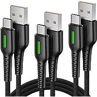 INIU Cable USB C, [3 Pack 0.5m+1.2m+2m] Cargador Tipo C Carga Rápida 3.1A y QC3.0, Sincronización de Datos Nylon Carga…