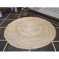 Icrafty Natural Jute & White Cotton Mix Multi Chindi Braid Rug, Hand Woven Reversible, 4 x 4 Feet Round, Jute and Cotton Chindi Mix Round Area Rug (Jute and White Cotton Mix)
