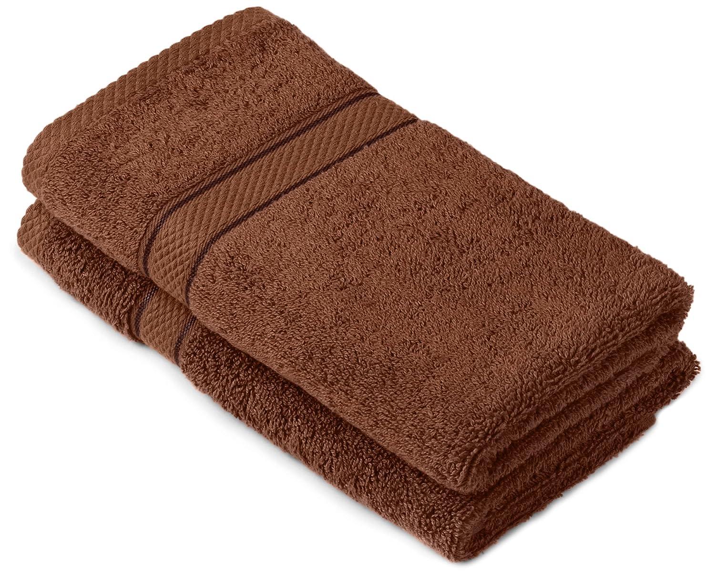 Pinzon by Amazon - Juego de toallas de algodón egipcio (2 toallas de manos), color marrón: Amazon.es: Hogar