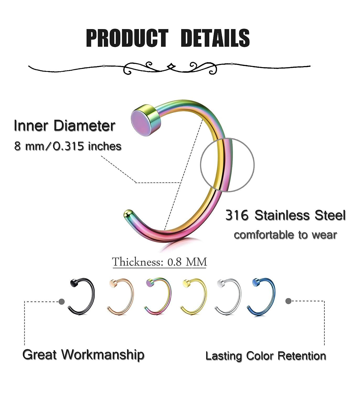Lolias 12 Pcs Stainless Steel 20g Fake Nose Rings Hoop Non Piercing