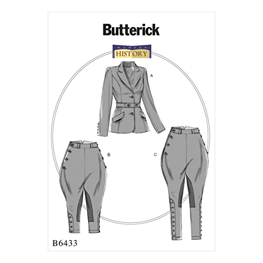 Edwardian Sewing Patterns- Dresses, Skirts, Blouses, Costumes Butterick Patterns B6433 A5 Misses Banded Jacket Jodphurs and Breeches by Making History Size 6-8-10-12-14 $13.94 AT vintagedancer.com