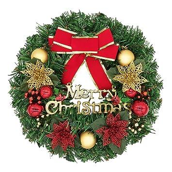 Türkranz Weihnachten.Bainuote 35cm Weihnachtskranz Weihnachts Türkranz Weihnachtsdeko Kranz Weihnachtsgirlande Mit Kugeln Handarbeit Weihnachten Garland Deko Kranz
