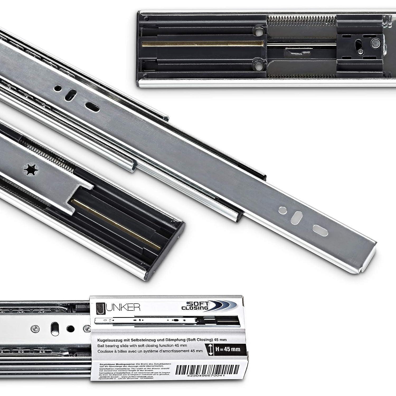 2 Piezas Gu/ías de Extracci/ón Total 450 mm con Amortiguador y Nuevo Mecanismo de Retracci/ón Soft-Close Capacidad de Carga 45kg de Junker 1 par