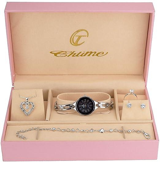 Caja de Regalo Reloj Mujer Negro - Juegos de Joyas- Collar-Anillo- Pendientes - Pulsera: Amazon.es: Relojes