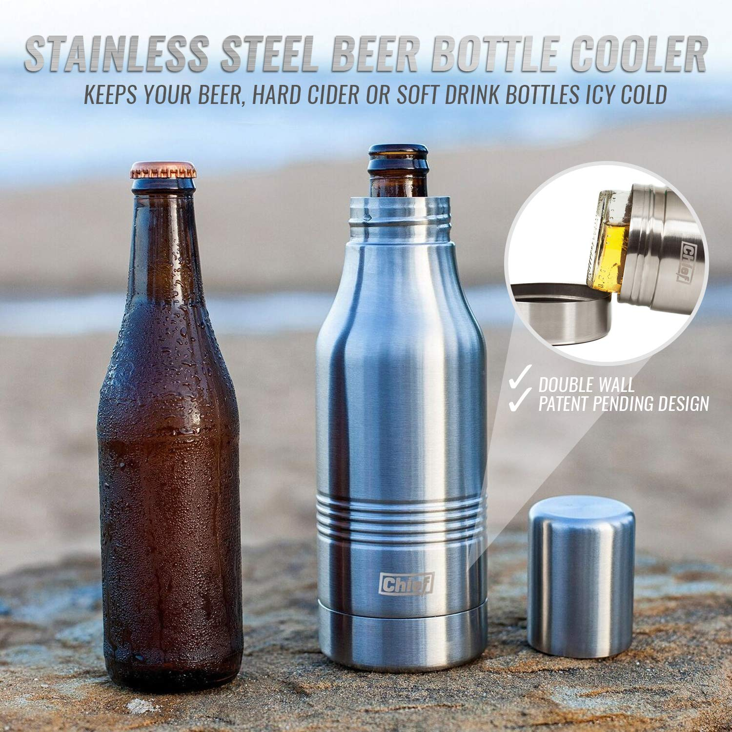 Beer Bottle Cooler- Double Wall Stainless Steel Beer Bottle Insulator. Great Gift ! BONUS e-Book and Gift Packaging. by Chief (Image #5)