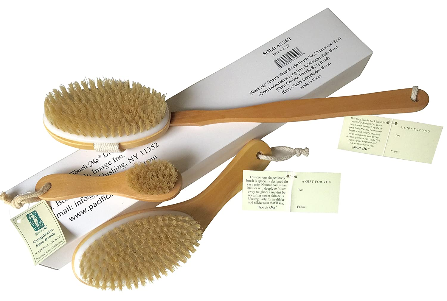 3 Brushes/Set Touch Me 100% Natural Boar Bristle detachable Long Handle Wooden Dry Bath Body Back Brush, Contour Handle Dry Body Brush and Facial Complexion Brush, Premium Quality, Perfect Spa Gift 2122