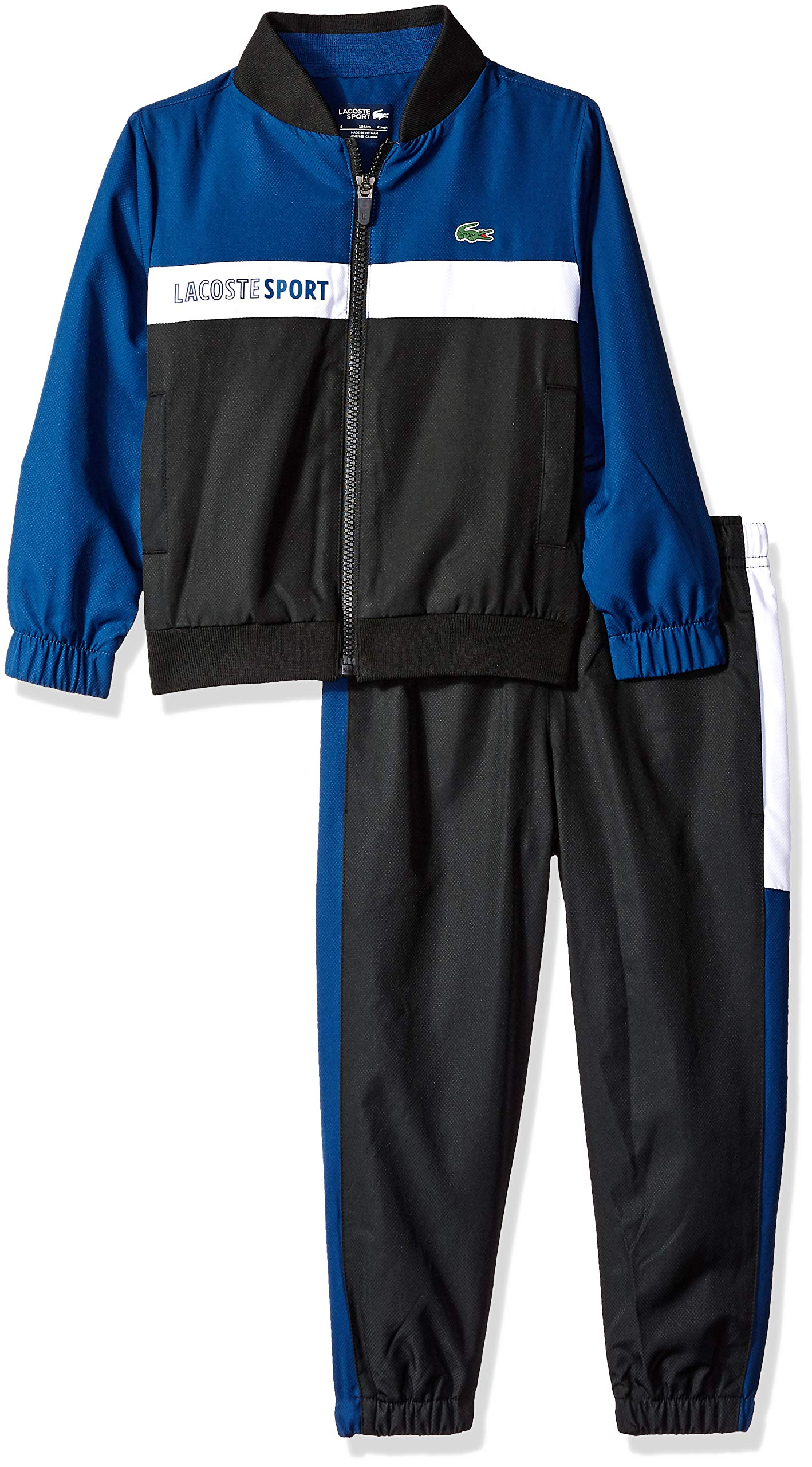 Lacoste Big Boy Sport Taffetas Color Block Tracksuits, Inkwell/Black/White 8