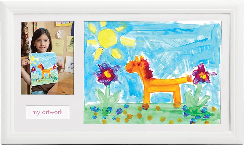 Pearhead - Marco de fotos con espacio para un dibujo del niño, color blanco