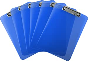 Trade Quest Plastic Clipboard Transparent Color Letter Size Low Profile Clip (Pack of 6) (Dark Blue)