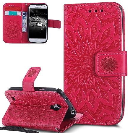 EMAXELERS Galaxy S4 Mini Hülle Mandala Sunflower Prägung Muster PU Leder Wallet Case Flip Cover im Etui Brieftasche mit Stand