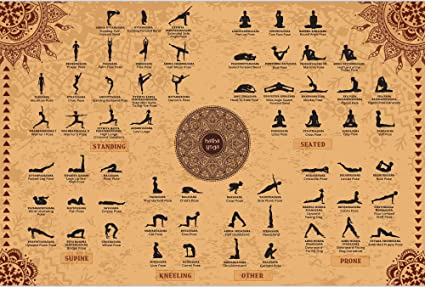 The Mindful Word 2-Pack Yoga Posters with Yoga Poses Poster (24x36 Inches) and Sun Salutations/Surya Namaskar Asanas Chart (18x24 Inches)