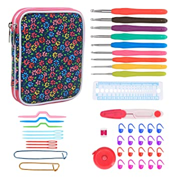 Teamoy Ergonomic Crochet Hooks Set, Knitting Needle Kit, Zipper Organizer Case with 9pcs 2mm to 6mm Soft Grip Crochets and Complete Accessories, Small ...