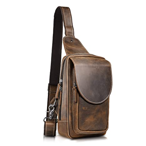 f082132f2d Image Unavailable. Image not available for. Color  SAMAZ Men s Leather  Sling Bag ...