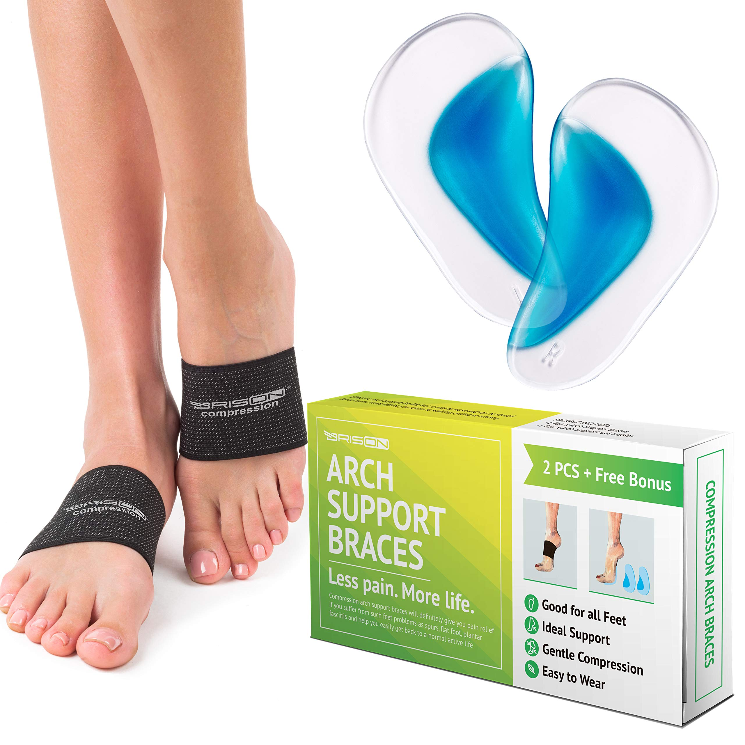 Compression Arch Support Braces for Men Women - Elastic Reusable Plantar Fasciitis Ankle Arch Sleeves Socks for Flat Foot Heel Spurs High/Low/Fallen Arches Heel Pain Relief - Black