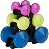 York Fitness Multi-Colour 15kg Dumbell Weight Set and Stand