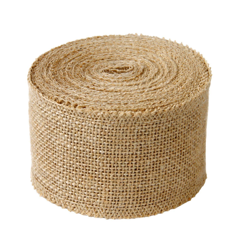 "LaRibbons 3"" Wide Burlap Fabric Craft Ribbon 10 Yards, 01 Tan"
