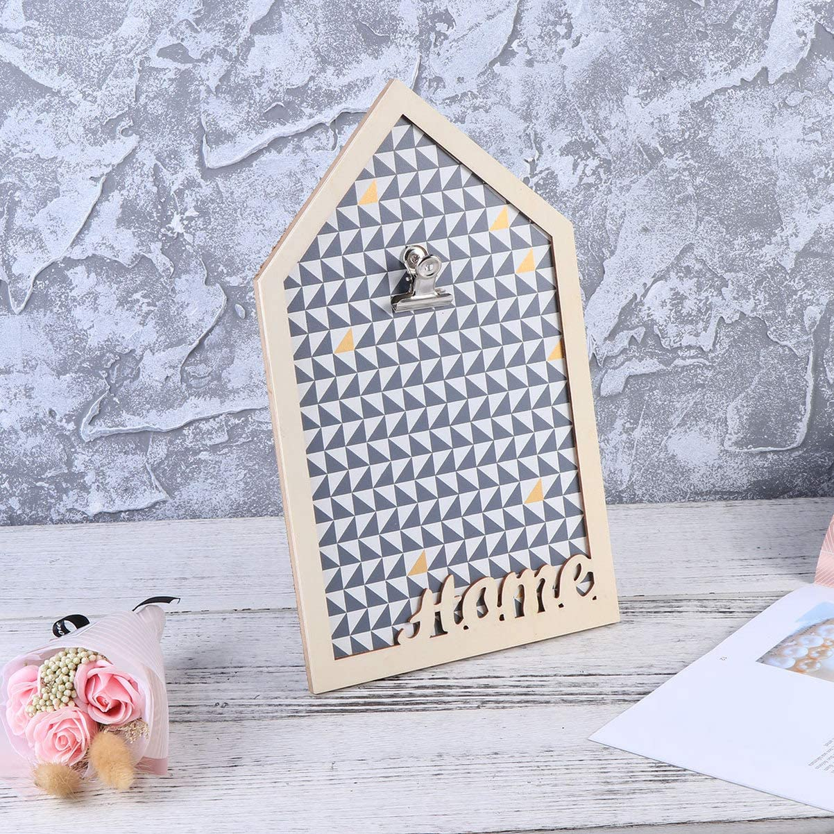 Cabilock Wall Mount Message Board Wooden Note Board Hanging Message Card Holder for Home Office