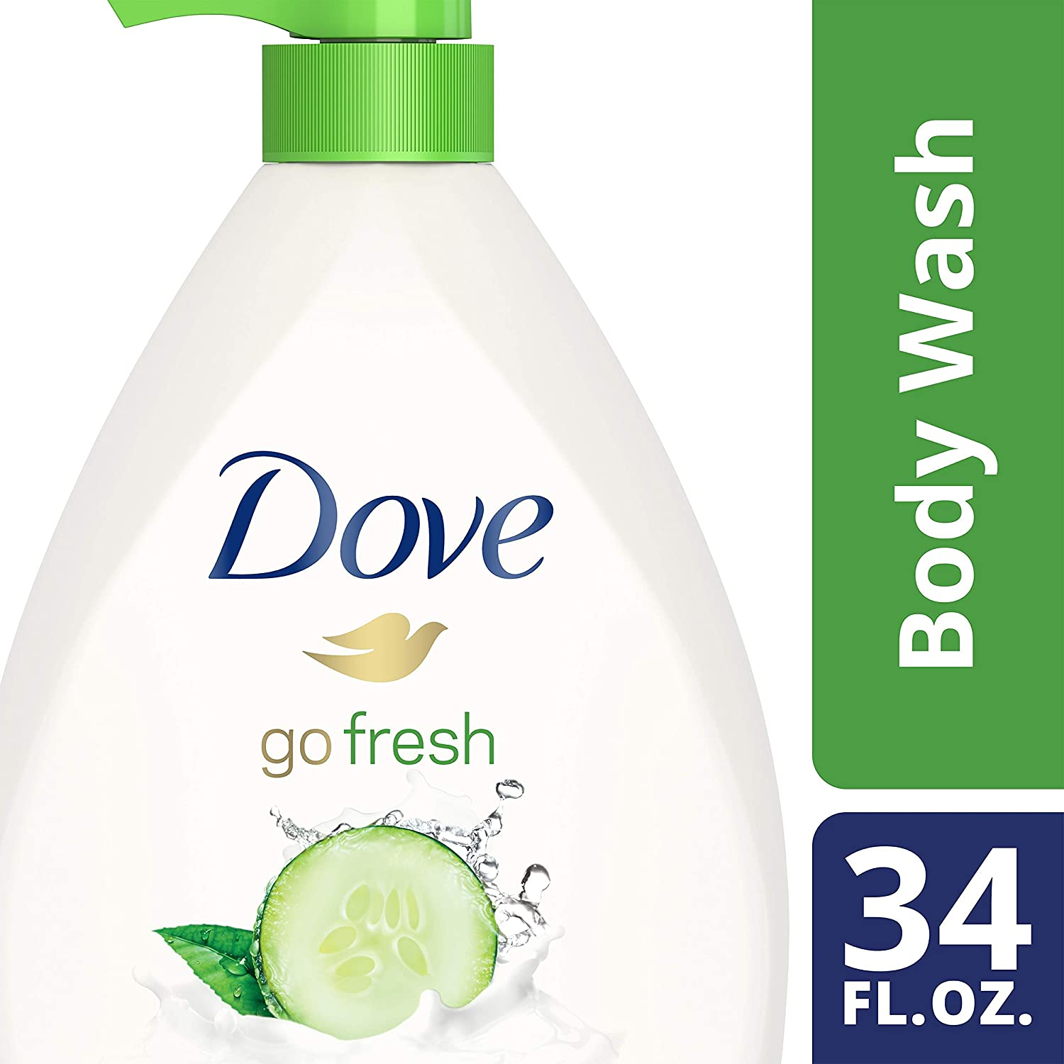 Dove Sulfate Free Body Wash with Pump Cucumber and Green Tea, 34 oz