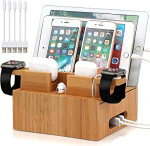 Bamboo Charging Station Organizer for Multiple Devices, Desktop Docking Station Compatible with iPhone, iPad, AirPods, iWatch, Android Phone (Included 2 Watch & AirPod Stand, 5 Pack Cable)