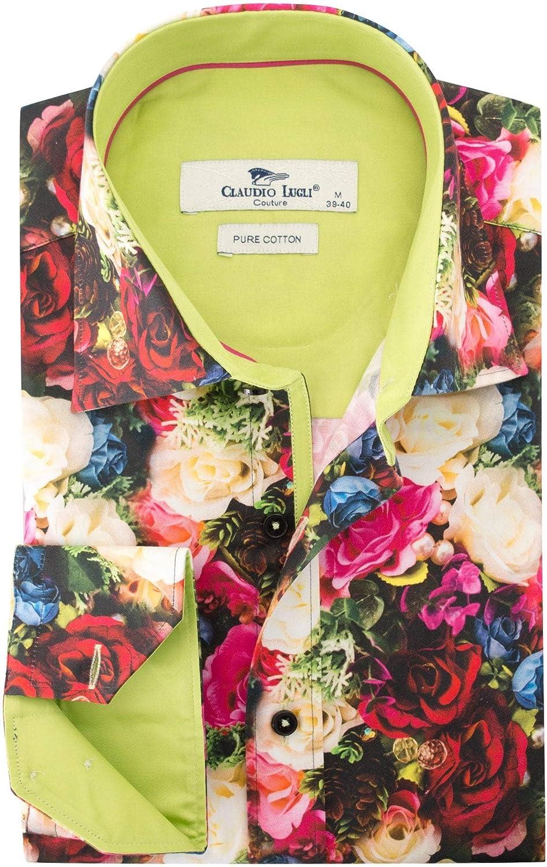 Claudio Lugli Pink Floral Print Shirt CP6378 Long Sleeve Size XXL