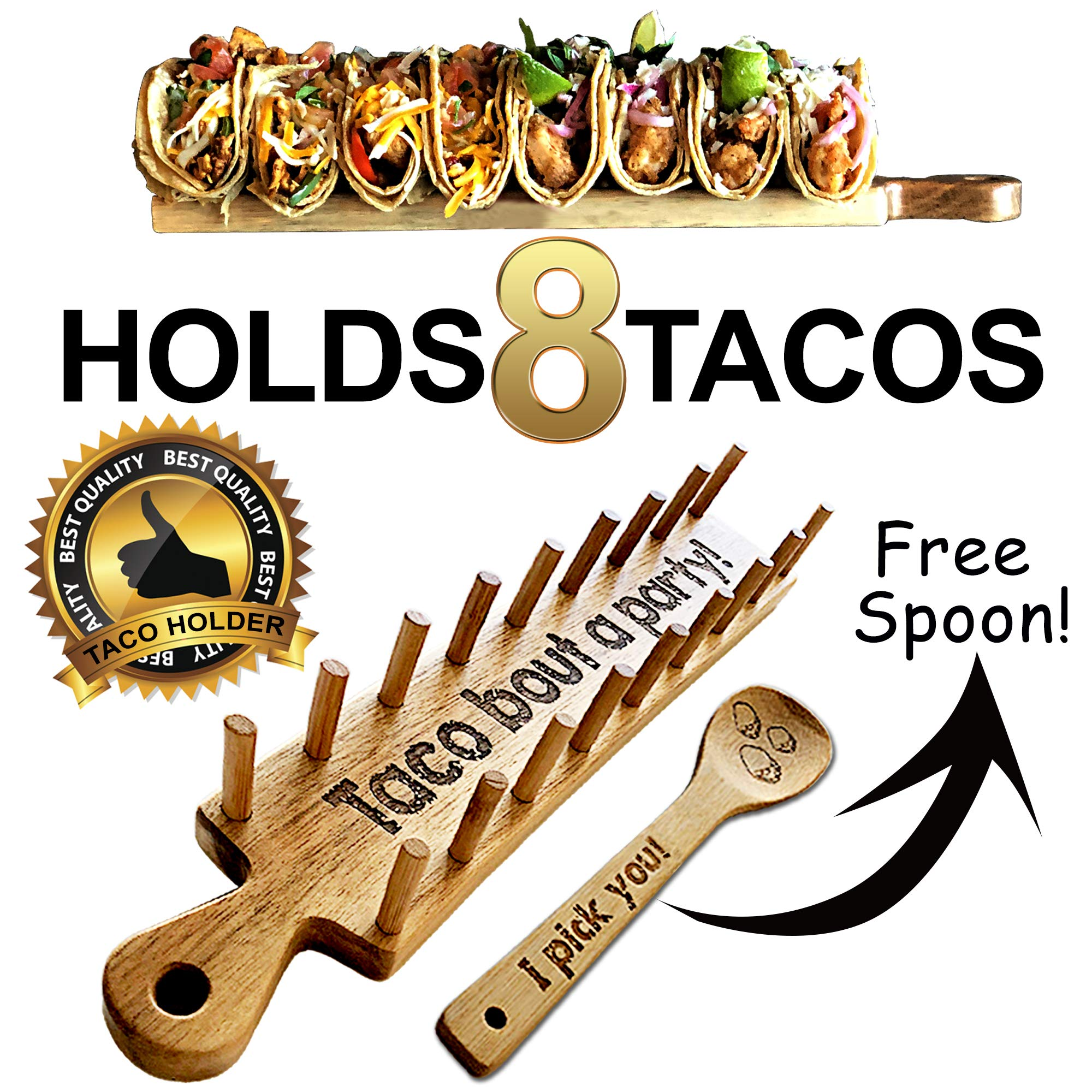 Wooden Taco Holder Tray Stand for Kitchen – Rack Set Holds 8 Soft or Hard Shell Tacos – Best for Adults & Kids Taco Train
