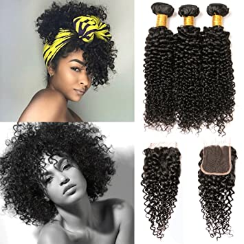 Jerry Curl Bundles with Closure Brazilian Kinky Curly Lace Front Closure  with Baby Hair 3 Bundles d39da00398