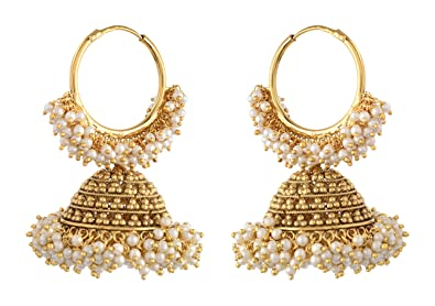 d2a160cc2 Buy Ashiana Traditional Cluster Pearls Bali Hoop With Big Jhumka Earrings  for Women Online at Low Prices in India | Amazon Jewellery Store - Amazon.in