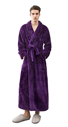 773191f979 Honofash Bathrobe Men Dressing Gown Towelling Terry Fluffy Boy Luxury Long  Plus Size Spa XXL Belt Navy  Amazon.co.uk  Clothing
