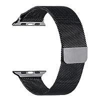Athelain Correa Reemplazable para Apple Watch 42mm, Cerradura Magnética, Milanese Loop Acero Inoxidable, Reemplazo de Pulsera de la Muñeca, (Negro)