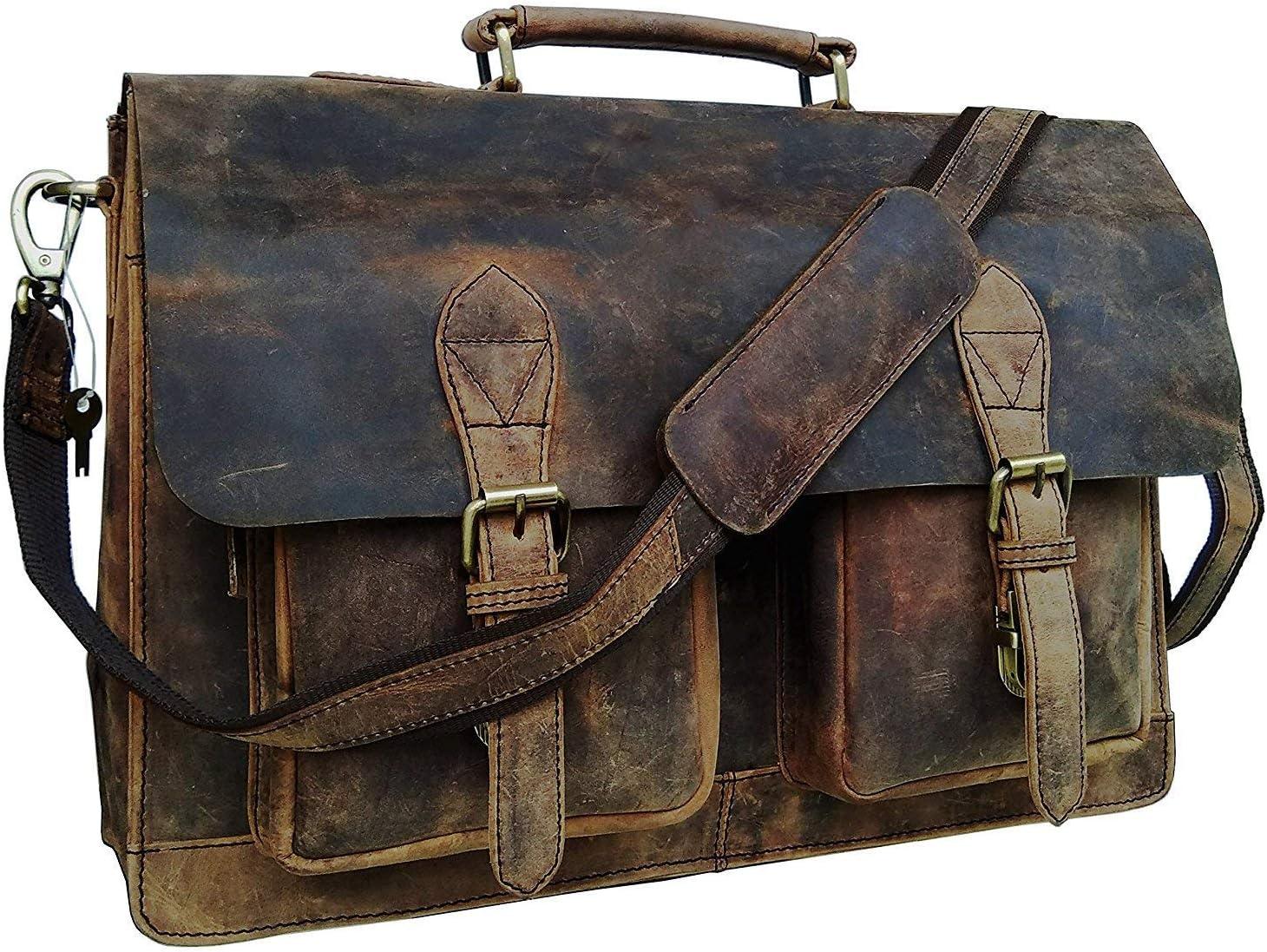 18 Inch Vintage Computer Leather Laptop Messenger Bags for Men Leather Briefcase Shoulder Bag Man & Women Bag (rustic brown)