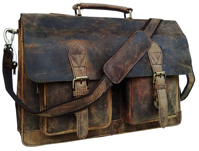18 Inch Vintage Computer Leather Laptop Messenger Bags for Men Leather Briefcase Shoulder Bag Man & Women Bag