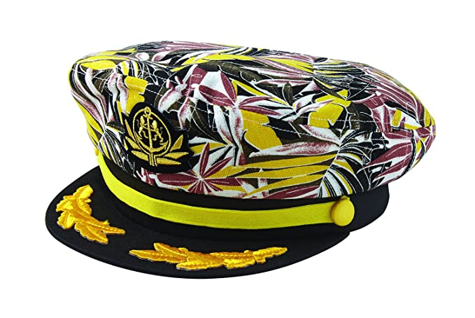 Hippie Hats,  70s Hats Broner Yacht Rock Patterned Print Yacht Cap $25.99 AT vintagedancer.com