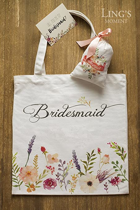 4f4c55eabf Amazon.com: Ling's moment Bridesmaid Cotton Canvas Tote Bag Favor Bag Kit  with Flower Printed for Vintage Fall Wedding Bridal Party Bridesmaid Gifts:  Home & ...
