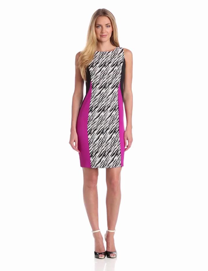 Julian Taylor Womens Colorblock Zebra Print Dress, Cream/Black, 10 Missy