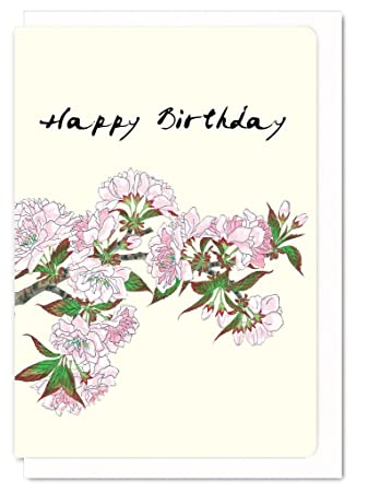 FlowerquotHappy Birthday Cherry Blossomsquot Japanese Greeting Card