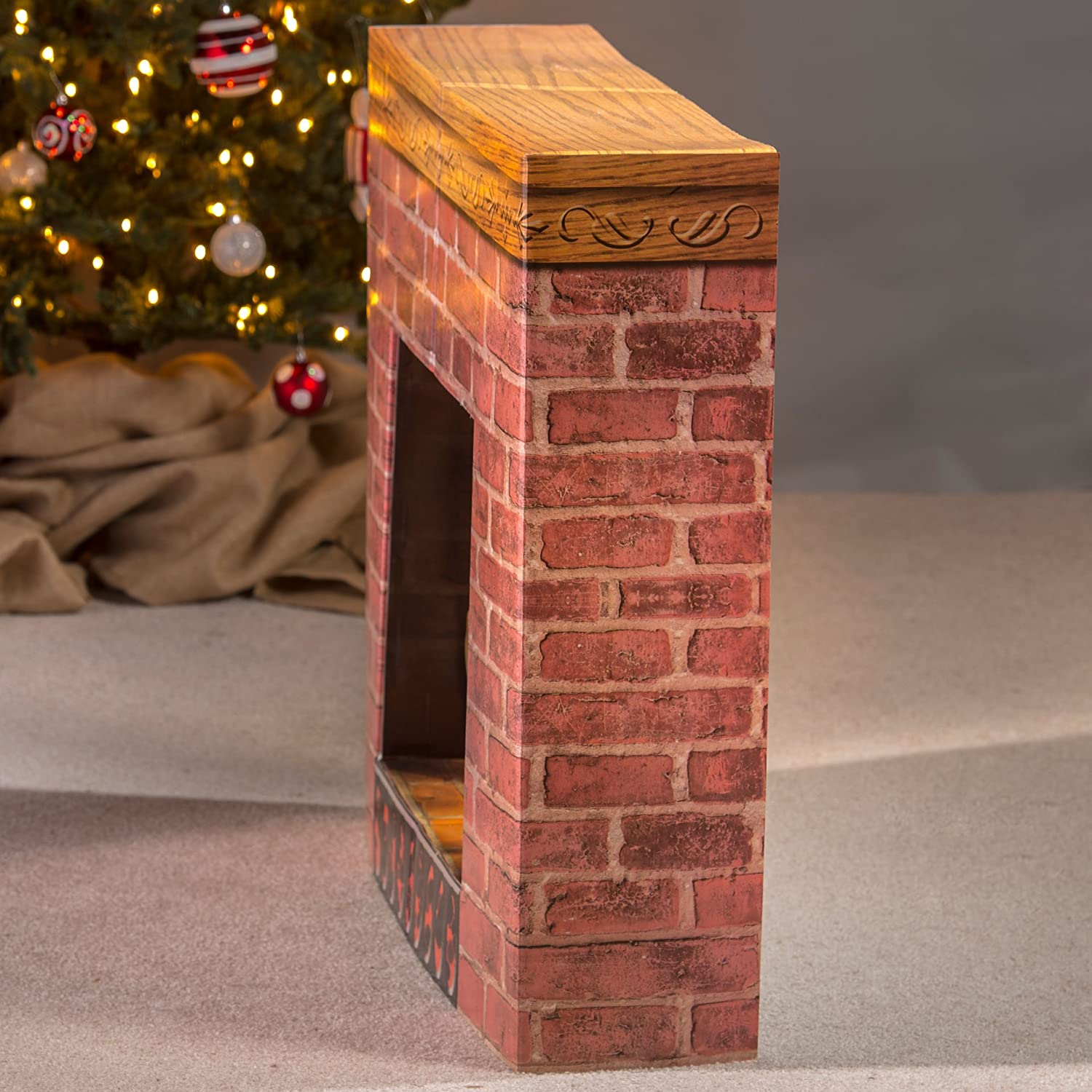 amazoncom cardboard christmas fireplace party decoration photo prop standee standup home kitchen