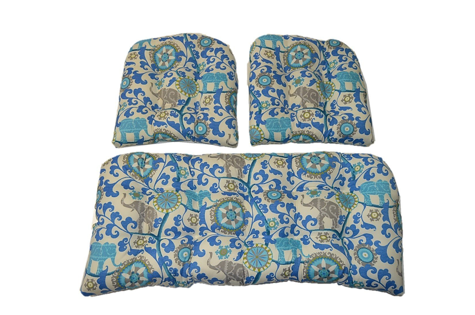 3 Piece Wicker Cushion Set - Indoor / Outdoor Sapphire Blue, Turquoise, Green, Gray Bohemian Elephant Wicker Loveseat Settee & 2 Matching Chair Cushions