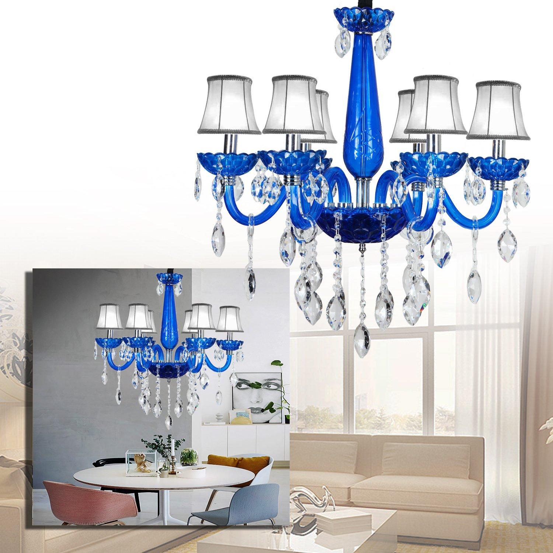 Lemeizhijia 6 Flammig Kronleuchter Blau Vintage Modern Lüster