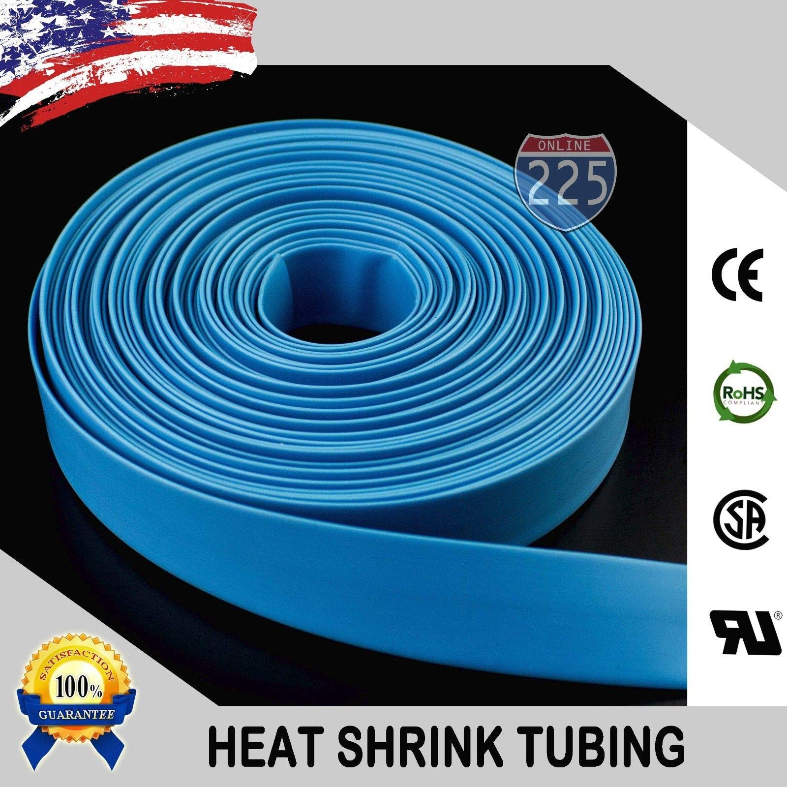 Wire Conduit 50 FT. 50' Feet Blue 3/8'' 9mm Polyolefin 2:1 Heat Shrink Tubing Tube Cable US UL