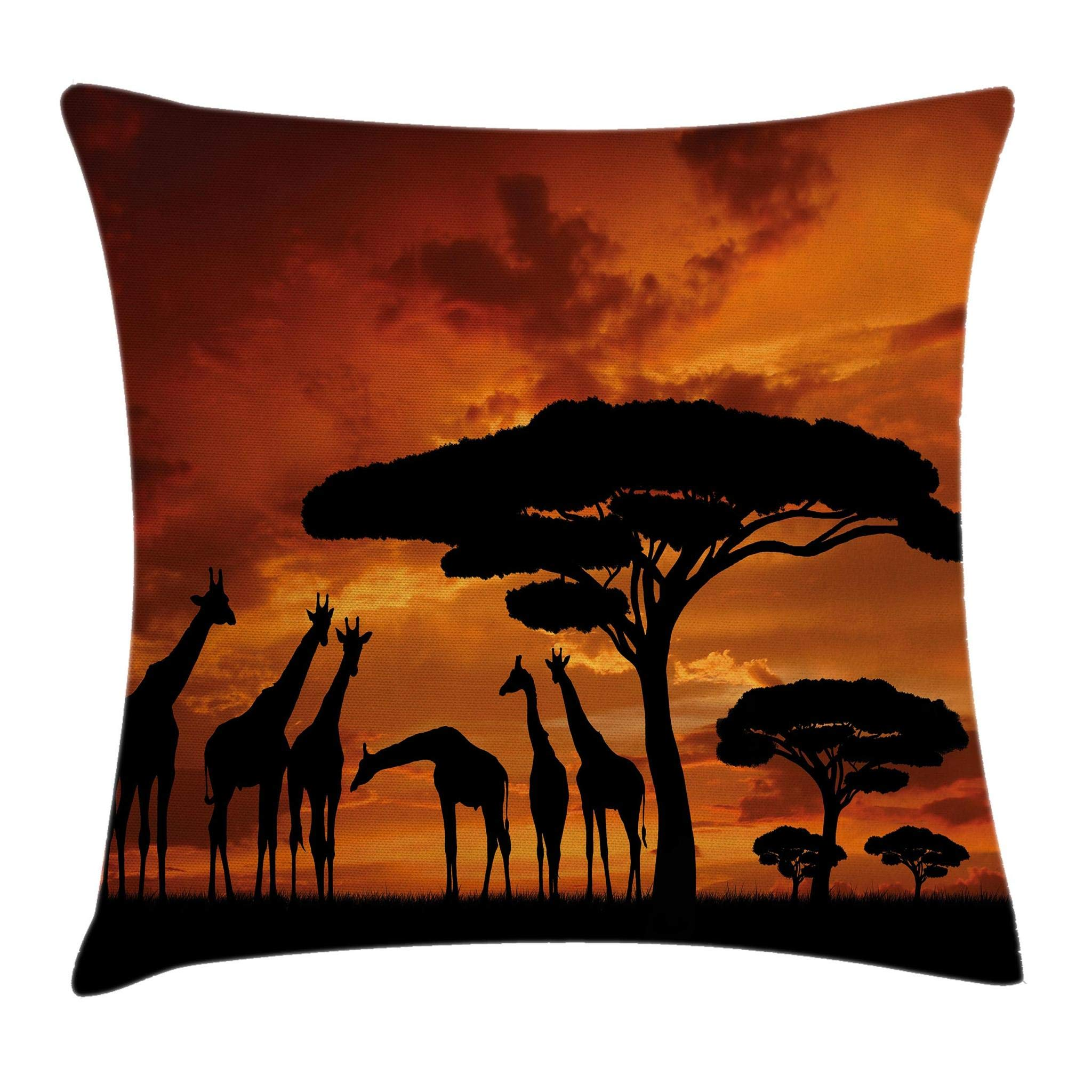 Ambesonne Wildlife Decor Throw Pillow Cushion Cover, Safari with Giraffe Crew with Majestic Tree at Sunrise in Kenya, Decorative Square Accent Pillow Case, 18 X 18 Inches, Burnt Orange Black