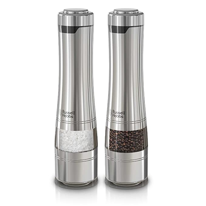 Russell Hobbs RHPK4100 Electric Salt & Pepper Mill Set with Adjustable Coarseness, Set of 2 Grinders, Stainless