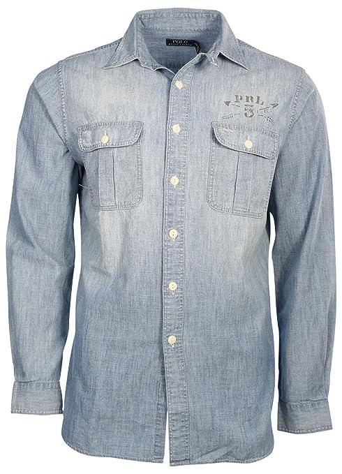 Polo Ralph Lauren Hombre L/S de sarga botón abajo shirt-chambray ...