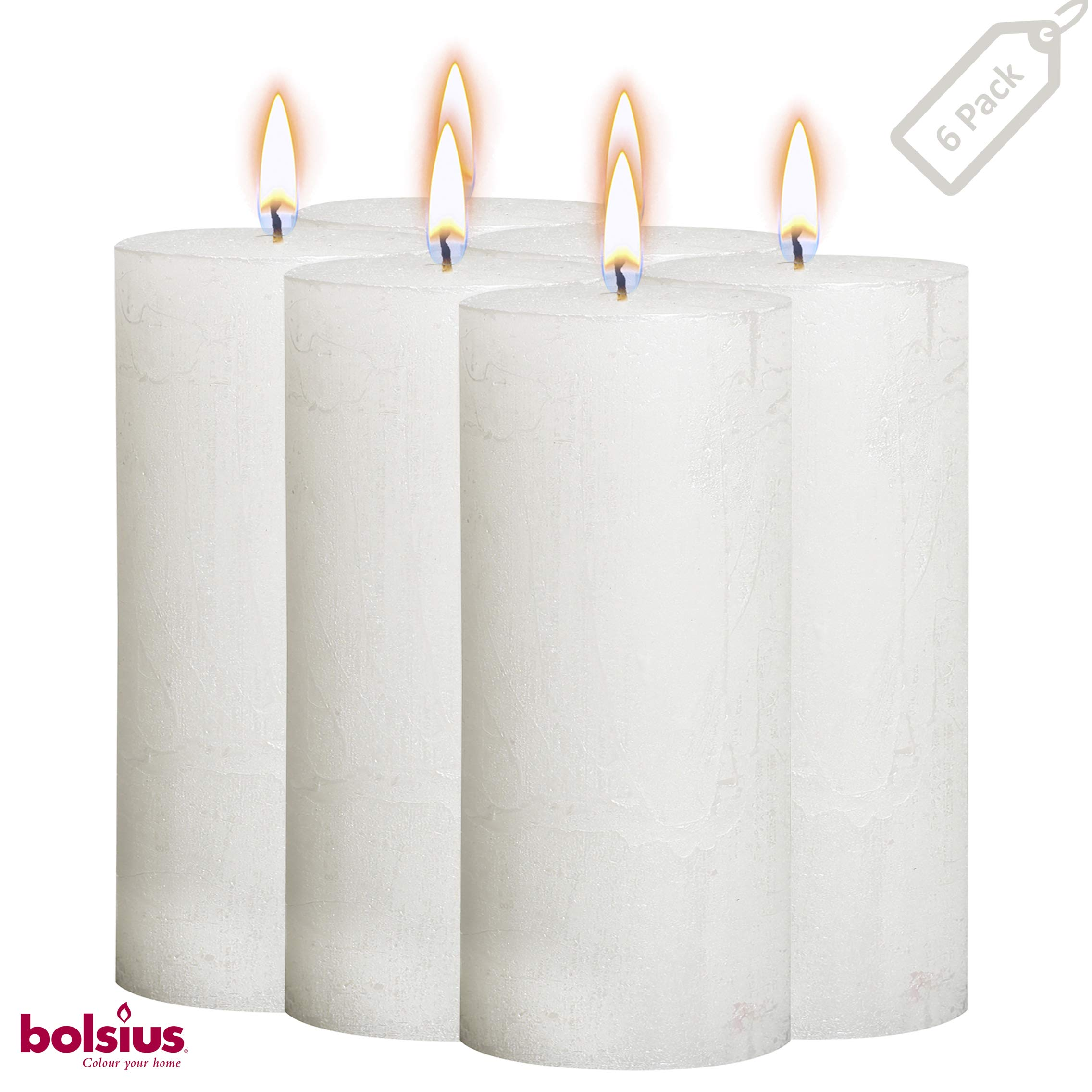 BOLSIUS Rustic Full Metallic White Candles – Set of 6 Unscented Pillar Candles – White Candles with a Full Metallic Coat – Slow Burning – Perfect Décor Candle – 190/68m 7.5X 2.75 Inches