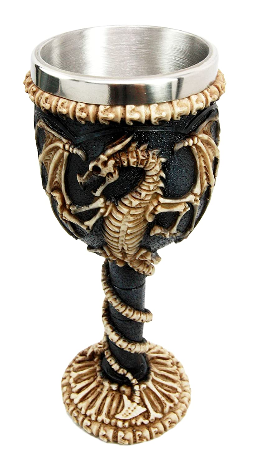 Medieval Flying Dragon Skeleton Fossil Ossuary Goblet Wine Chalice 7oz Capacity Atlantic Collectibles