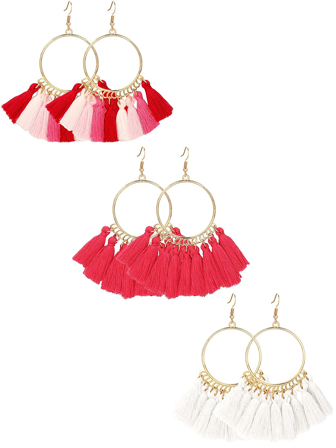 Gejoy Tassel Hoop Earrings Fan-shaped Drop Earrings Dangle Eardrop for Women Girls Party Bohemia Dress Accessory, 3 Pairs 3 Pairs (multicolor peach beige) Gejoy-Earrings-01
