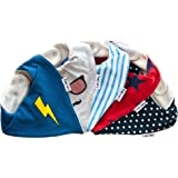 Lovjoy Bandana Drool Baby bibs (5 PACK - LITTLE HERO) Super Absorbent & Soft for Ultimate Comfort with Adjustable Snaps- Cute Baby Gift for Boys & Girls.