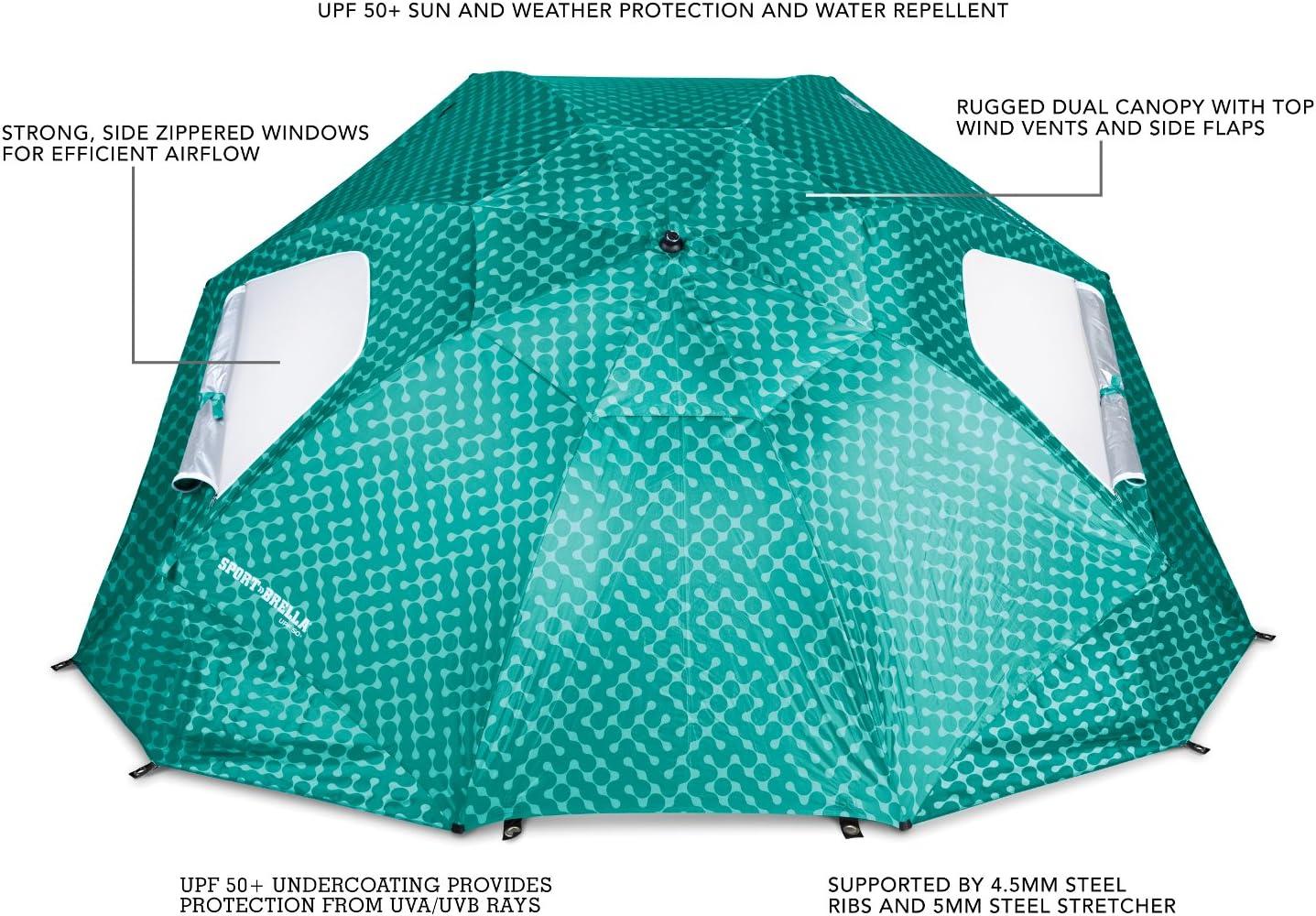 Turquoise Paraguas port/átil para Todo Tipo de Clima y Sol 8-Foot Canopy Color Turquesa Sport-Brella Portable All-Weather and Sun Umbrella Unisex Adulto Talla /única 8 pies